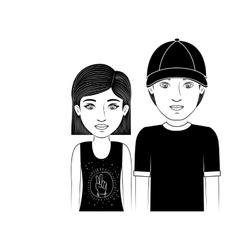 Silhouette couple teenager with short hair and hat vector