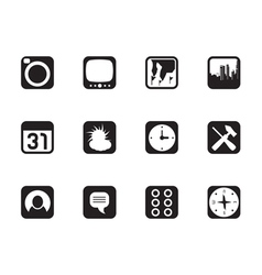 Silhouette Mobile Phone and Computer icon vector