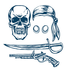 skull a pirate vector image