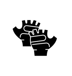 sport gloves black icon sign on isolated vector image