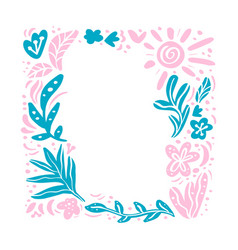 summer floral frame tropical composition vector image