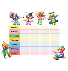 Table of seven days of the week with happy clowns vector