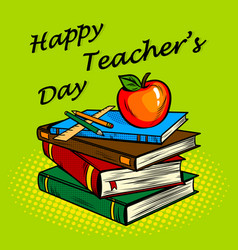 Teachers day card pop art vector