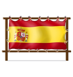 The flag of Spain attached to the wooden frame vector image vector image