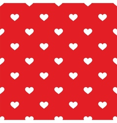 Tile pattern with white hearts on red backgrond vector image