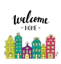 Town building City streets with phrase welcome vector