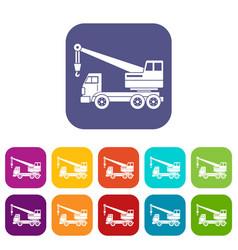 truck crane icons set flat vector image