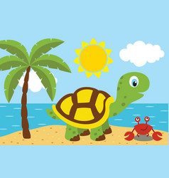Turtle with cancer on the beach vector