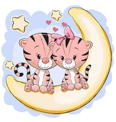 Two cute tigers on the moon vector