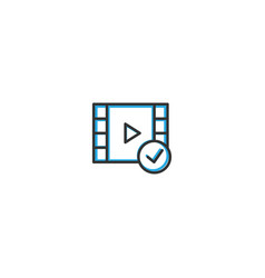 video player icon design interaction icon line vector image