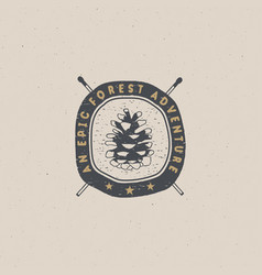Vintage hand drawn forest adventure badge and vector