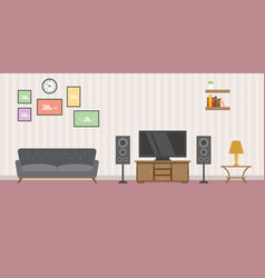 warm living room concept with sofa tv and books vector image