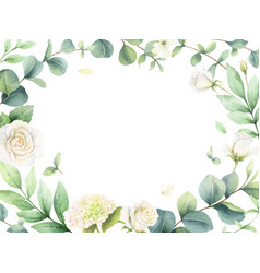 watercolor card with eucalyptus leaves and vector image