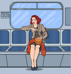 woman traveling in metro late at work pop art vector image