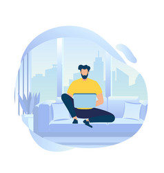 young man character work on laptop sitting on sofa vector image