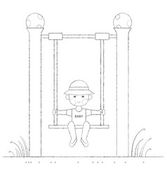 boy on the swing outline vector image