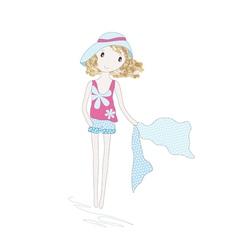 Cute little girl vector