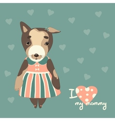 Cute puppy in a dress vector image vector image