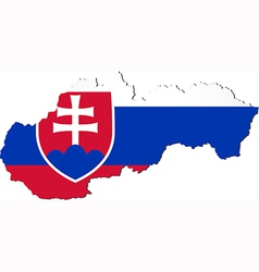 Map of Slovakia with national flag vector image vector image
