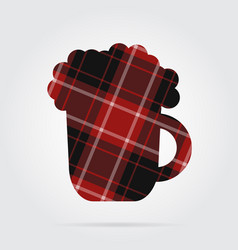 Red black tartan isolated icon - beer with foam vector