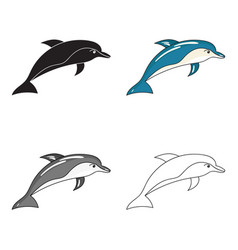 dolphin icon in cartoon style isolated on white vector image vector image