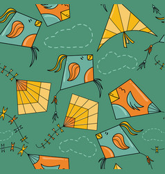 kites like birds seamless pattern vector image vector image