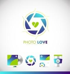 Photography shutter aperture love heart logo icon vector