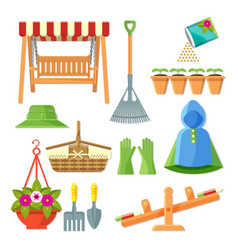 set of garden equipment and decorative accessories vector image vector image