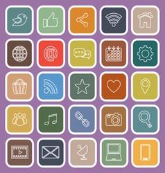 Social media line flat icons on violet background vector