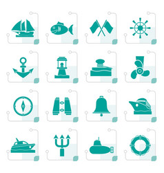 stylized marine sea and nautical icons vector image vector image