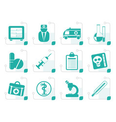stylized medical and healthcare icons vector image vector image
