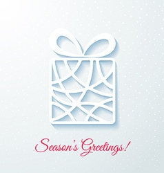 Applique card with white gift box vector image vector image