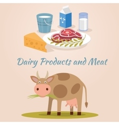 Cow - milk and meat products icons vector image