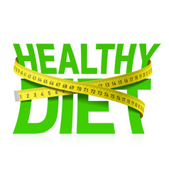 healthy diet phrase with measuring tape concept vector image