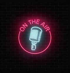 neon on the air sign with retro microphone in vector image vector image