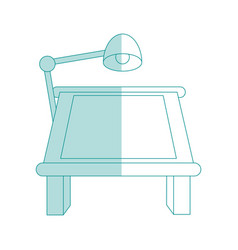 blue shading silhouette cartoon drawing table with vector image vector image