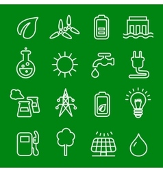 Flat thin line icons set of power and vector image vector image