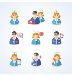 Medicine doctors and nurses icons set vector