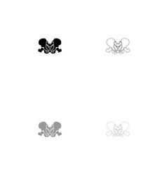 pelvis skeleton black and grey set icon vector image