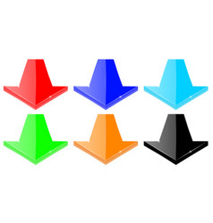 set of colored down arrows vector image