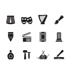 Silhouette Different kind of art icons vector image vector image