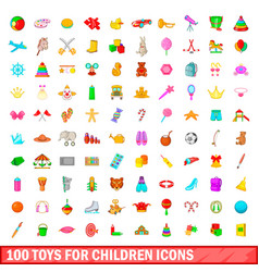 100 toys for children icons set cartoon style vector image