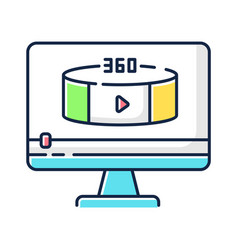 360 degree view video rgb color icon vector