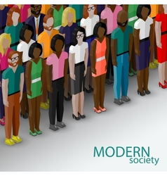 3d isometric of society members with a large group vector image