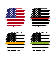 american thin line flag set - gold blue red green vector image