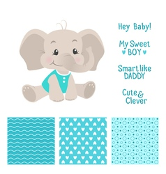 Baby boy elephant design with seamless patterns vector