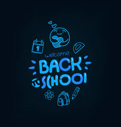Back to school greeting card with doodling vector