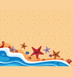 Background scene with starfish on the shore vector