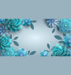 Background with paper blue flowers vector