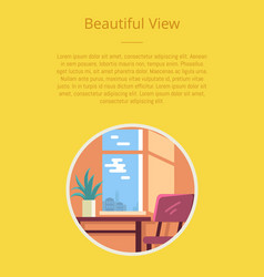 Beautiful view poster with circle icon of room vector